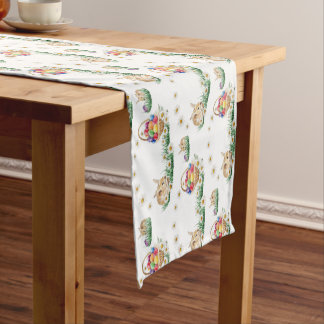 Cute Easter bunny and eggs pattern table runner
