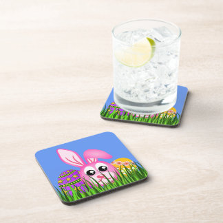 Cute Easter Bunny and Eggs Set of 6 Cork Coasters Beverage Coaster