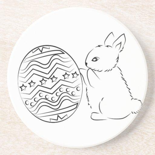 Cute Easter Bunny Beverage Coasters