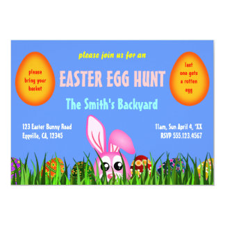Cute Easter Bunny & Eggs in Grass Egg Hunt Invites
