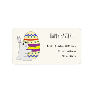 Cute easter bunny holding painted egg address label