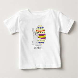 Cute easter bunny holding painted egg baby shirt