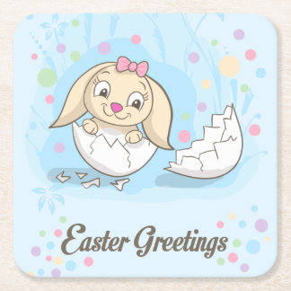 Cute Easter Bunny sitting in Easter Egg Square Paper Coaster