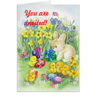 Cute Easter bunny with chick Greeting Card