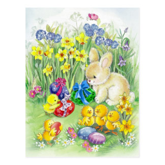 Cute Easter bunny with chick Postcard