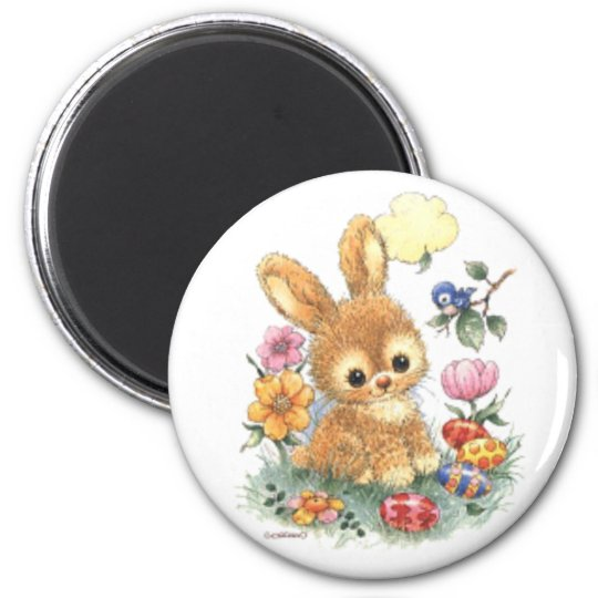 Cute Easter Bunny with Flowers and Eggs Magnet