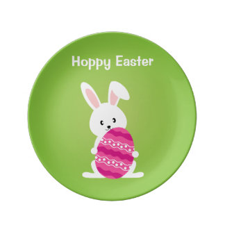 Cute Easter Bunny with Pink Easter Egg Plate