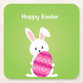 Cute Easter Bunny with Pink Easter Egg Square Paper Coaster