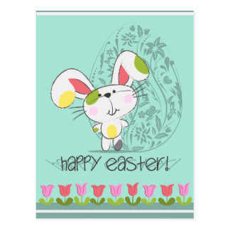 Cute Easter Bunny with tulips and Easter egg Postcard