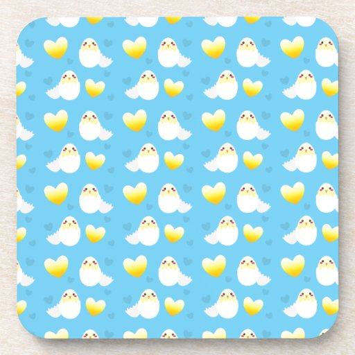 Cute Easter chick coming out of an egg pattern Coasters