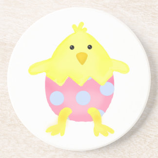 Cute Easter Chick in Egg Beverage Coaster