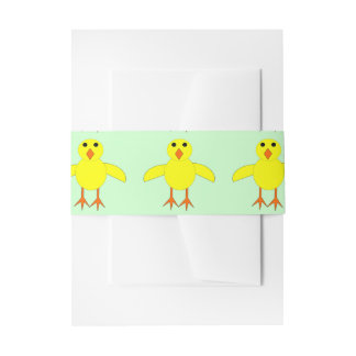 Cute Easter Chick Invitation Belly Band