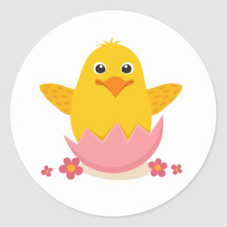 Cute Easter chick sitting in a broken eggshell Classic Round Sticker
