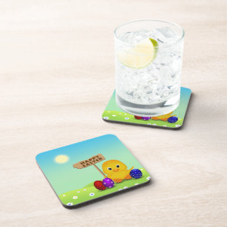 Cute Easter Chick with Sign - Hard Plastic Coaster