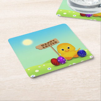 Cute Easter Chick with Sign - Paper Coaster Square Paper Coaster