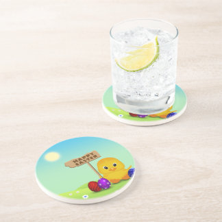Cute Easter Chick with Sign - Sandstone Coaster