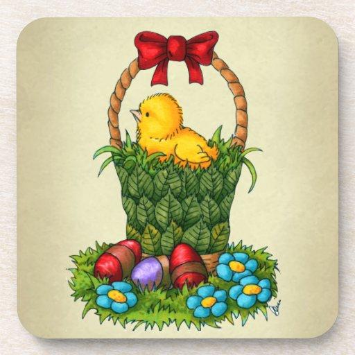 Cute Easter Chicken Beverage Coaster