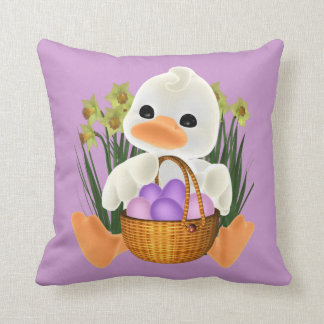 Cute Easter Duck with Egg Basket Pillow
