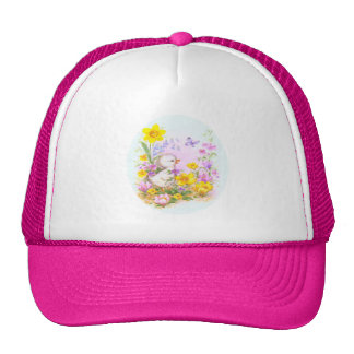 Cute Easter Duckiling Chick and Spring Flowers Trucker Hat
