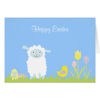 Cute Easter Lamb with Eggs Card