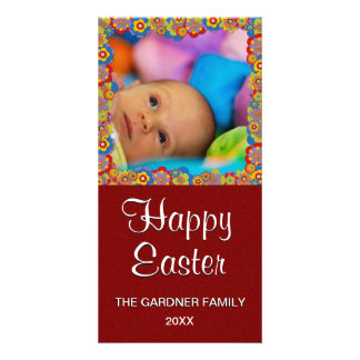 Cute Easter Photo | Springtime Flowers Red Glitter Photo Card Template