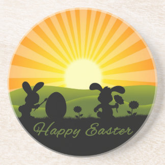 Cute Easter Rabbits Silhouette - Sandstone Coaster
