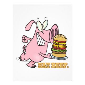 cute eat beef burger piggy pig cartoon 21.5 cm x 28 cm flyer