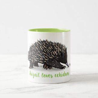 Cute echidna with bug cartoon Two-Tone coffee mug