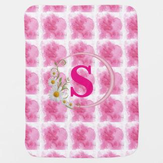 Cute editabl pink clouds monogrammed baby blanket