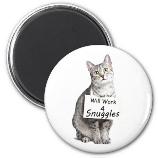 Cute Egyptian Mau Cat Advertising for Snuggles 6 Cm Round Magnet