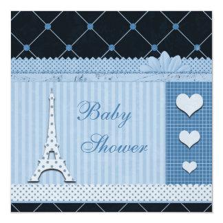 Cute Eiffel Tower Blue Polka Dots Baby Shower 13 Cm X 13 Cm Square Invitation Card