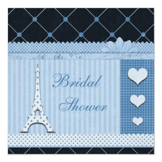 Cute Eiffel Tower Blue Polka Dots Bridal Shower 13 Cm X 13 Cm Square Invitation Card