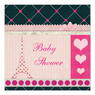 Cute Eiffel Tower Pink Polka Dots Baby Shower 13 Cm X 13 Cm Square Invitation Card