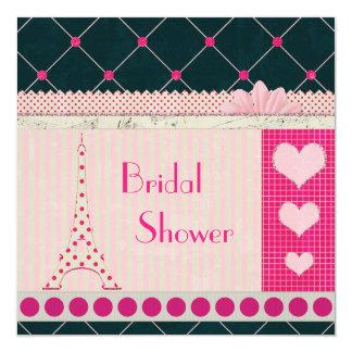 Cute Eiffel Tower Pink Polka Dots Bridal Shower 13 Cm X 13 Cm Square Invitation Card