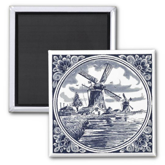 Cute Elegant Antique Delft Blue Dutch Windmill Magnet