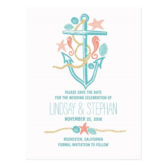 Cute elegant beach wedding save the date postcards