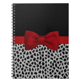 Cute elegant black and white leopard skin notebooks