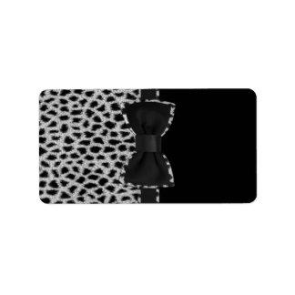 Cute elegant black and white leopard skin print address label