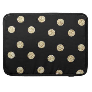 Cute Elegant Faux Gold Dots-Black Background Sleeve For MacBooks