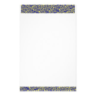 Cute Elegant Floral Fantasy Blue Gold Personal Stationery Paper