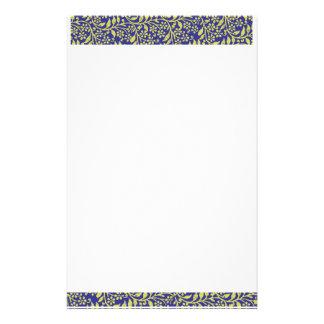 Cute Elegant Floral Fantasy  Blue & Golden Stationery Paper
