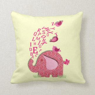 Cute Elephant and Chicks Alphabet Print Cushion