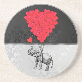 Cute elephant and love heart on gray coaster