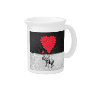 Cute elephant and love heart on gray pitcher