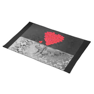 Cute elephant and love heart on gray placemat