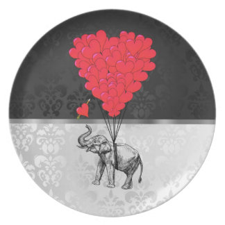 Cute elephant and love heart on gray plate