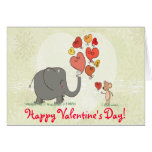 cute elephant and mouse valentine love vector II Note Card