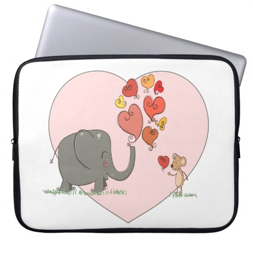 cute elephant and mouse valentine love vector computer sleeves