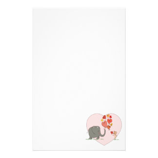 cute elephant and mouse valentine love vector stationery design
