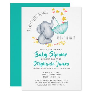 Cute Elephant Baby Shower Gender Neutral Invitation